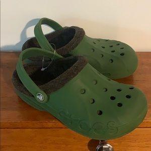 Crocs fur lined green